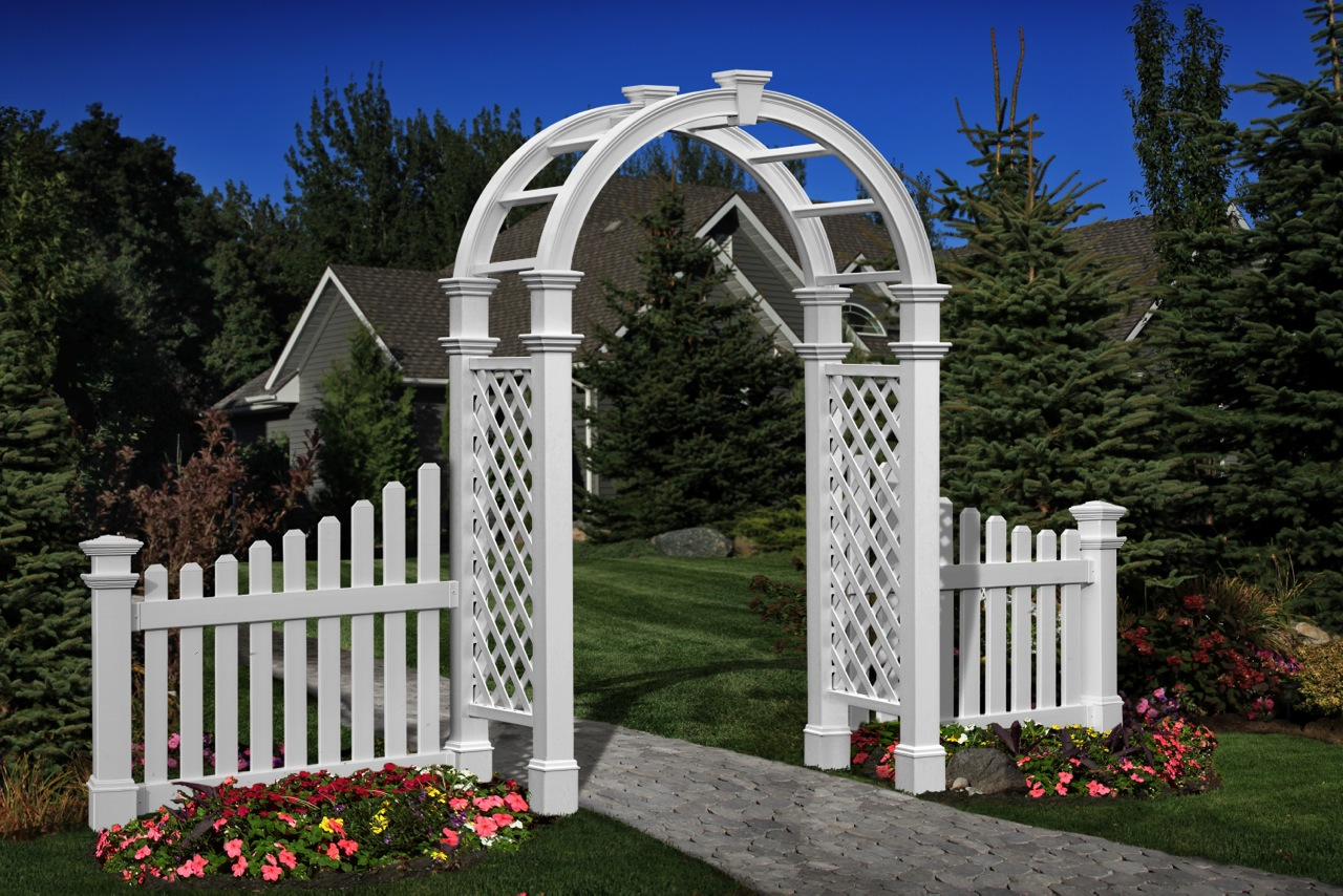 Vinyl arbors arbor fence inc a diamond certified company for Fence with arbor