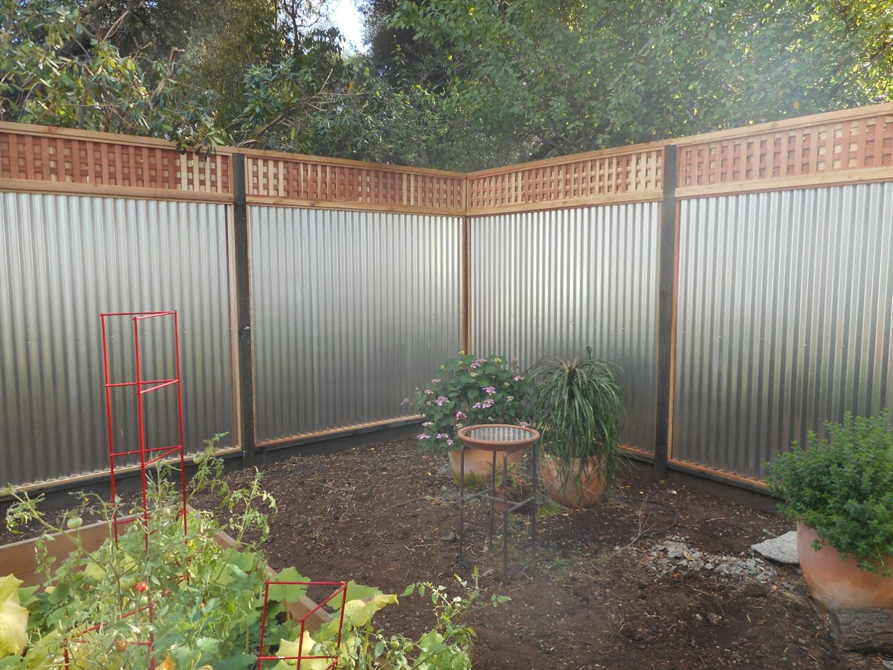 Wood With Galvanized Tin 171 Arbor Fence Inc A Diamond
